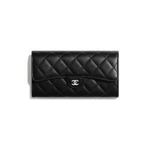 Authentic Chanel Flap Wallet Long Lambskin SHW